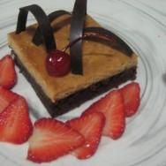 Torta invertida de flan y chocolate